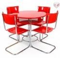 Jídelní stůl ST35 II + trubkové pružící židle S10 (výroba Robert Slezák, Bystřice pod Hostýnem)