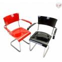 Trubková pružící židle s područkami B-43F (návrh Marcel Breurel)